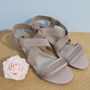 Coach and Four Women's Wedge Sandals Beige Color